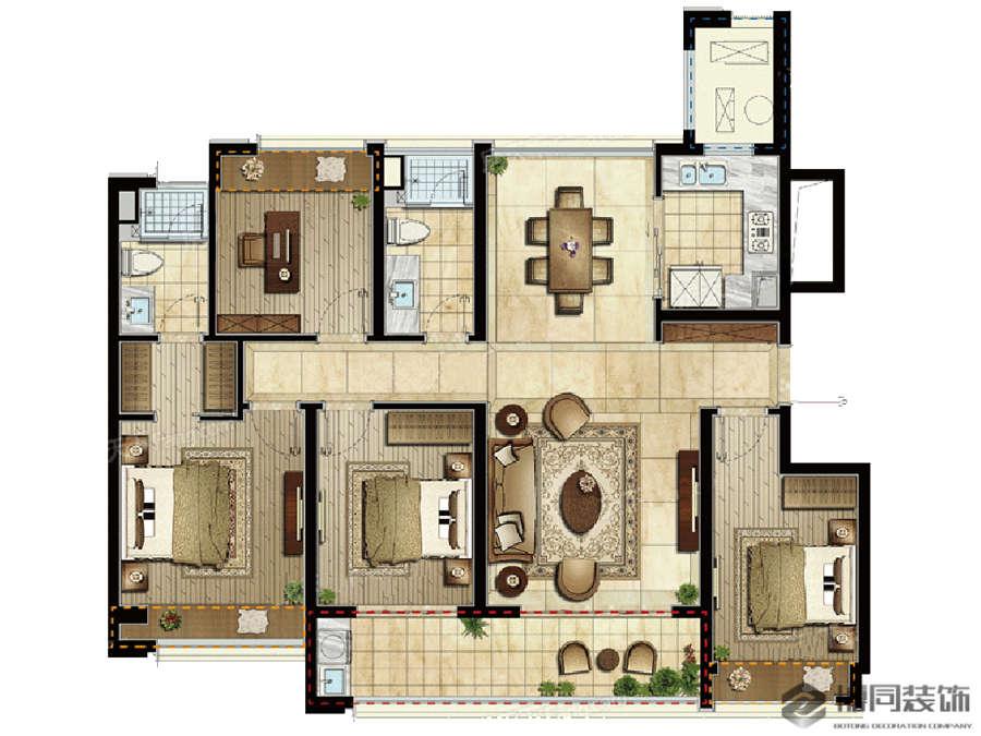 鄞州万科东晟府139㎡四室二厅简美风格装修效果图