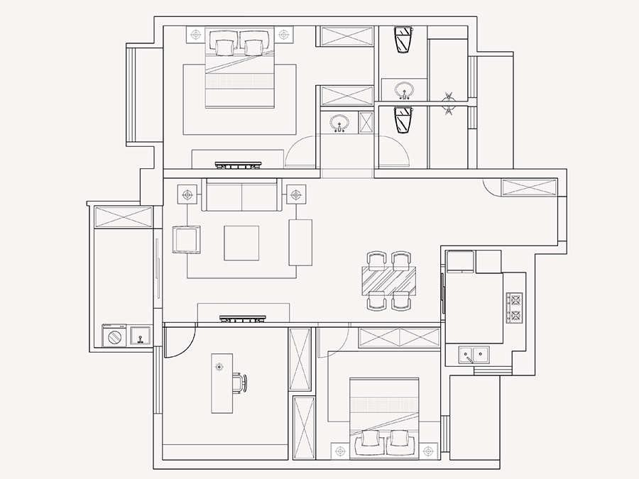 海曙区绿地观堂三室两厅现代简约风格装修案例