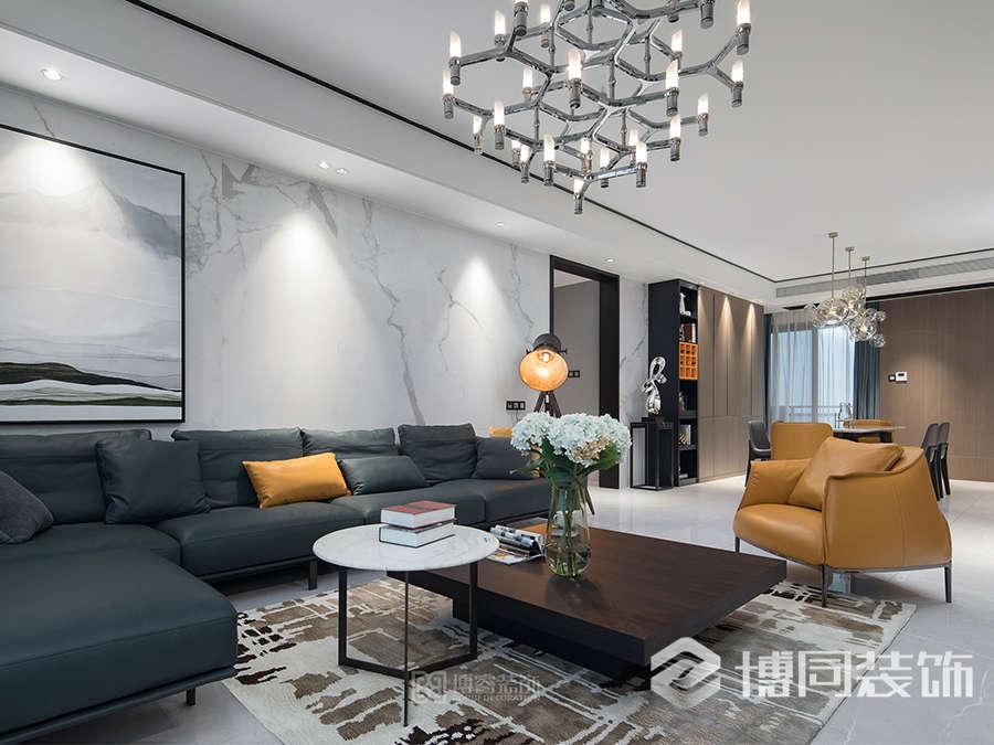 宁波镇海绿城桂花园三室两厅两卫现代装修风格