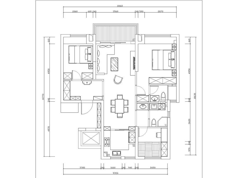 海曙幸福里三室两厅俩卫110平北欧风格装修效果图
