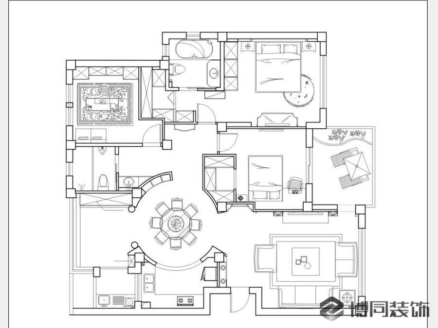 鄞州风格城市四室两厅163㎡法式风格装修效果图