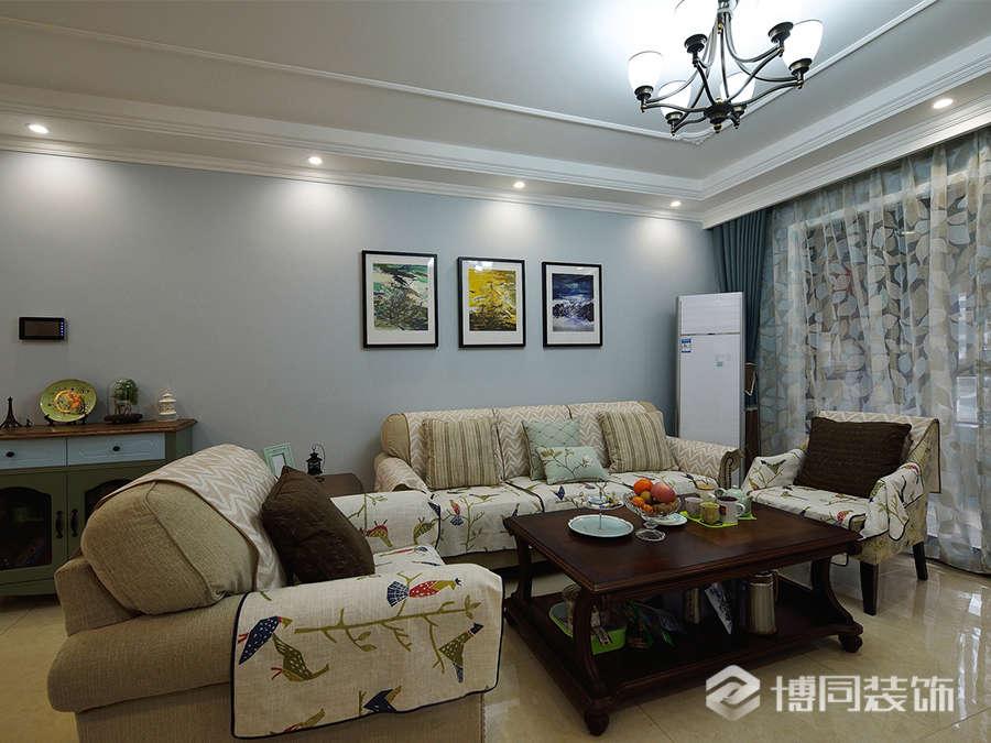 海曙格兰星辰三室两厅85㎡美式风格装修效果图