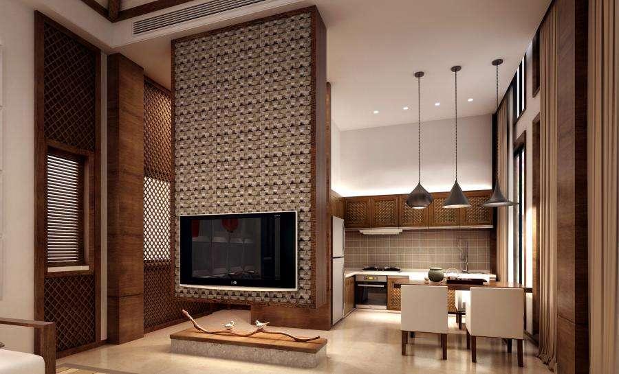 鄞州水榭花都三室两厅117㎡东南亚风格装修效果图
