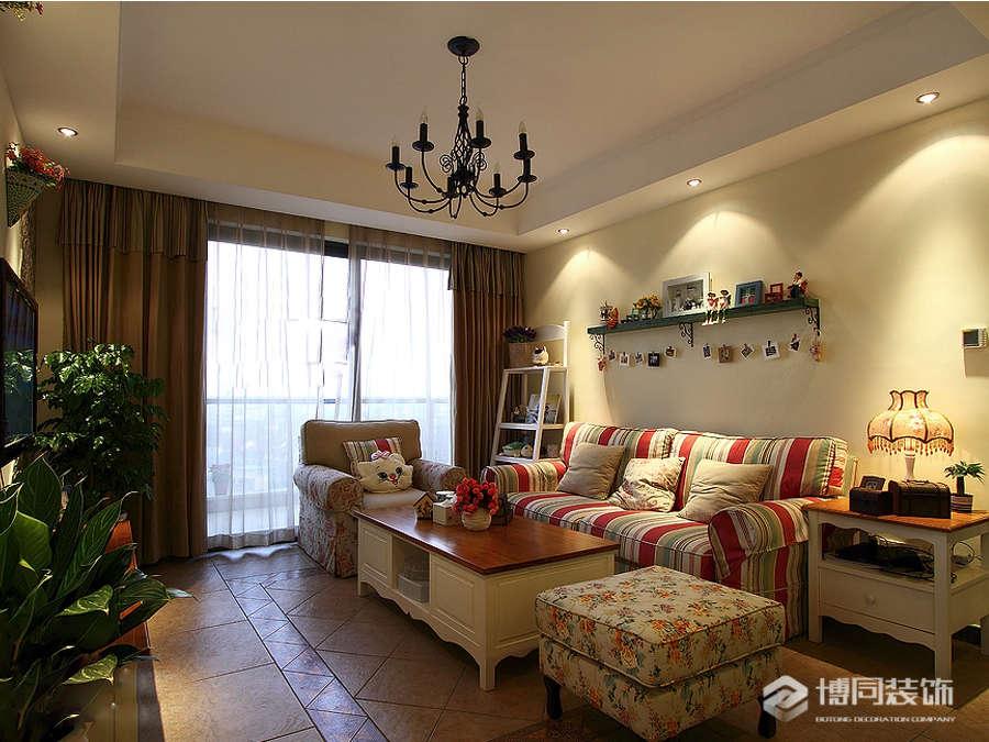 鄞州青林湾三室两厅115m²乡村田园风格装修效果图